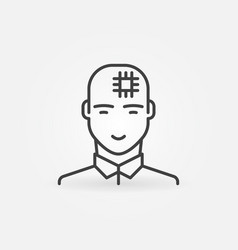 man with computer chip in his head linear vector image