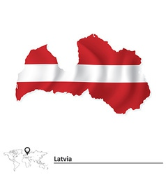 Map of Latvia with flag vector image