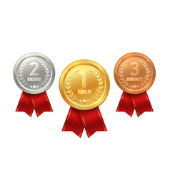 Medal and ribbon icons sport prize winner trophy vector