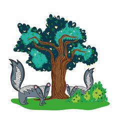 Nice skunk couple animal and tree vector