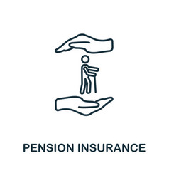 Pension insurance outline icon thin line style vector