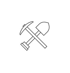 Pick axe and shovel icon outline design vector