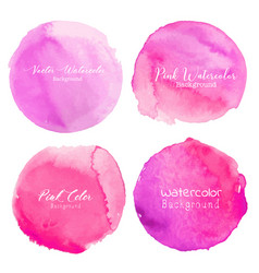 Pink watercolor circle set on white background vector