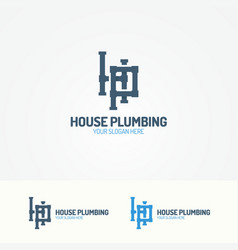 Plumbing service logo with pipelines vector