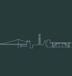 portugal simple line skyline and landmark vector image