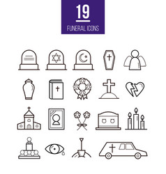 Ritual line style icons funeral objects vector