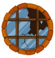 Round window with broken glass vector