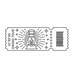 Rustic camping lantern in ticket vector