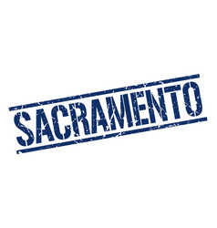 Sacramento blue square stamp vector