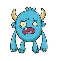 scared cartoon furry creature monster vector image