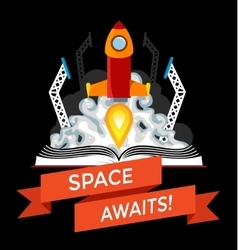 sci-fi book with rocket launch vector image