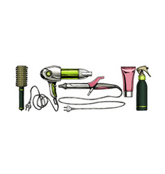 Set hairdressers tools vector