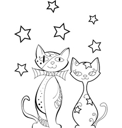 Set of cats silhouettes vector image