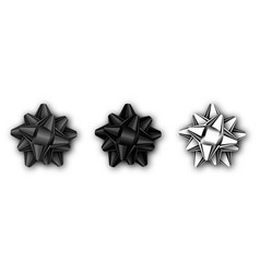 set of realistic black and silver bow isolated vector image