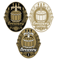 Set oval labels for brewery with beer keg vector