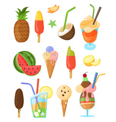 Set summer sweets isolated elements vector