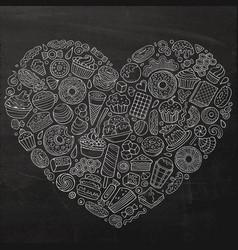 set sweet food cartoon doodle objects symbols vector image