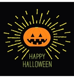 Shining pumpkin yellow dash line halloween card vector