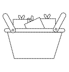 Shopping basket with gifts vector