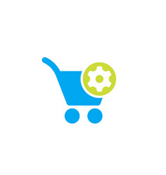 Shopping cart and gear icon vector