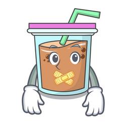 Silent bubble tea mascot cartoon vector