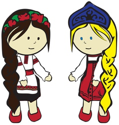 Slavic girls in costumes vector