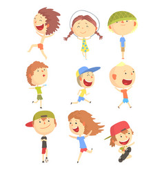 Small kids playing and running having fun on vector