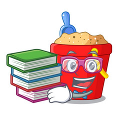 Student with book beach bucket in string shape vector