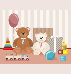 teddy bear and clorful toys wooden toy train vector image