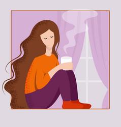 The girl drinks coffee from a mug vector