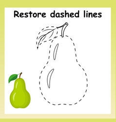 Trace game for children cartoon pear restore vector