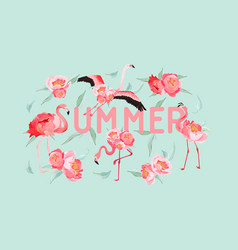 tropical flamingo summer flyer banner with peony vector image