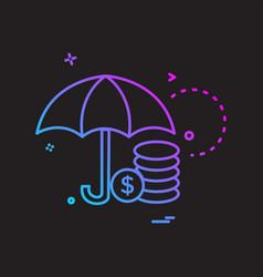 umbrella coins dollar icon design vector image