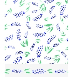 Watercolor blue muscari flowers seamless pattern vector image