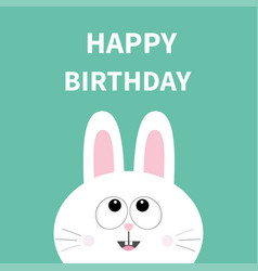 white bunny rabbit face pet collection hare vector image
