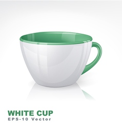 White cup with green elements vector