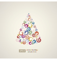 Winter holidays decoration swirls tree vector
