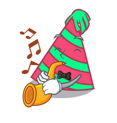 With trumpet party hat mascot cartoon vector