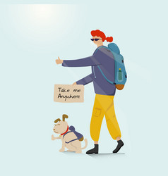 young backpacking adventurous woman with a dog vector image