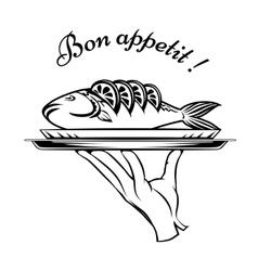 Bon appetit fish design element vector