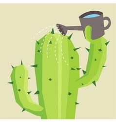Cactus watering vector image vector image