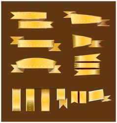 Gold banner and gold ribbon vector image