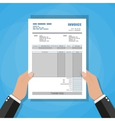 hands unfill paper invoice form receipt bill vector image