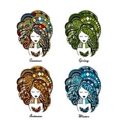 Ornate female portrait four seasons concept vector image