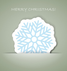 snowflakeChristmas greeting card with paper flake vector image