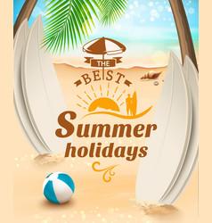 Summer holidays background surfing beach vector image