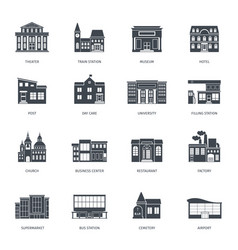 town buildings front view set vector image