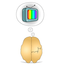 Brain to think about the TV vector image vector image