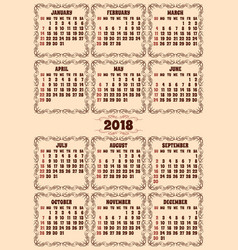 calendar grid for 2018 year vector image vector image