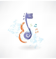 contour Violin and note grunge icon vector image vector image